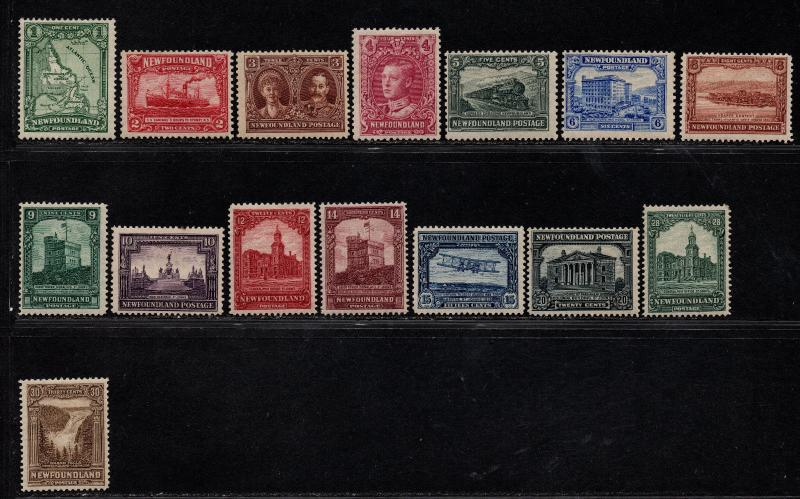 $Newfoundland Sc#145-159 M/H/F-VF, complete set, a few have toned spot on gum