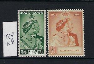 GIBRALTAR SCOTT #121-122 1948 GEORGE VI SILVER WEDDING-MINT TOP VALUE NH