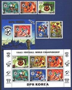 North Korea. 1981. 2099A-2103A Small sheet bl94A. Spain 82, football. MNH.