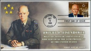 AO-2513, 1990, Dwight D Eisenhower,  Add-on Cachet, First Day Cover, SC 2513
