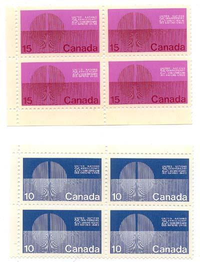 Canada 1970 United Nations #513pii-514pii Wpg. Tag - MS Rare VF-NH