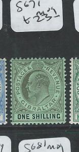 GIBRALTAR  (P2407B) KE 1/-  SG 71  MOG