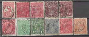 COLLECTION LOT # 5276 AUSTRALIA 11 STAMPS 1913+ CV+$28