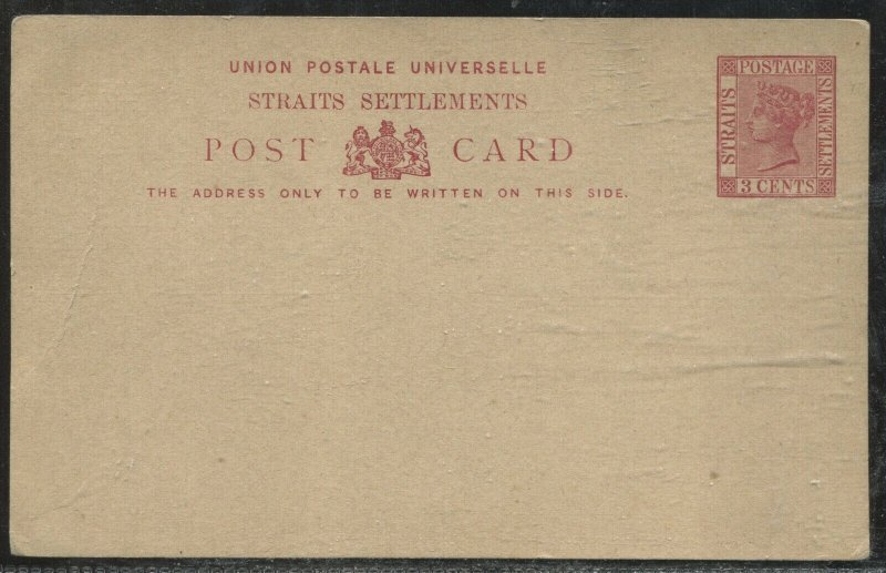 Straits Settlements QV 3 cents unused Post card with crease at left