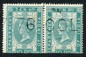 Ceylon Telegraph SGZT9 10r Die I PAIR with Colombo (type 2) cancel