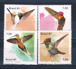 Brazil MNH 1739-42 Birds 1981