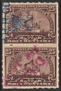 SC#R169p 25¢ Revenue: Documentary Pair; Hyphen Hole Perf 7 (1898) Cut Cancelled
