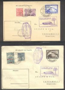 GERMANY #C36-37 Covers - 1928 2m - 4m Zeppelin