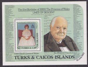 Turks & Caicos Islands # 534, Princess Diana 21st Souvenir Sheet,  NH, 1/2 Cat.