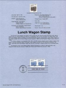 US SP892 Lunch Wagon 2464 Souvenir Page FDC