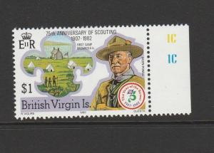 British Virgin islands 1982 Scouts $1 Wmk Crown to Right of CA, UN/MNH Marginal