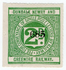 (I.B) Dundalk Newry & Greenore Railway : Letter Stamp 2d
