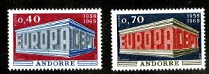 FRENCH ANDORRA  188-9 MNH SCV $18.50 BIN $10.50 EUROPA