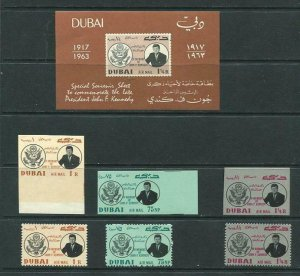 Dubai 1964 Sc C25-7 Sheet+Perf and Imperf stampd MNH J.F.Kennedy 6236