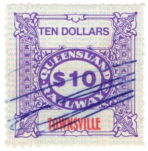 (I.B) Australia - Queensland Railways : Parcel Stamp $10 (Townsville)