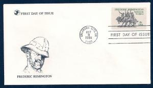 UNITED STATES FDC 18¢ Frederic Remington 1981 Readers Digest