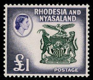 RHODESIA & NYASALAND SG31, £1 black & deep violet, UNMOUNTED MINT. Cat £48.