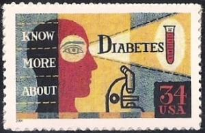 #3503 34 cent Diabetes Awareness, mint OG NH XF