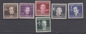 J29661, 1936 austria set mh #b146-51 inventors