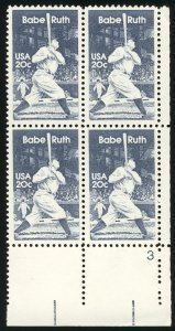 US #2046 Babe Ruth, Baseball great,  VF/XF mint never hinged, Plate BLOCK, st...