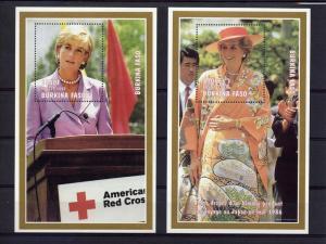 Burkina Faso 1997  Diana Red Cross/J.Kimono 2 S/S Sc# 1127K/1128