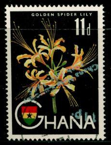 GHANA  SG386a, 11p on 11d multicoloured, FINE USED, CDS. SURCH INV.