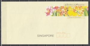 Singapore,  Pre Paid Envelope showing Orchids.