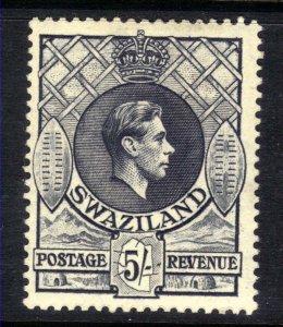Swaziland 1938 – 54 KGV1 5/-d Slate MM SG 37a 13.5 x 14 perfs CV £60 ( F564 )