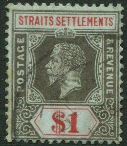 STRAITS SETTLEMENTS-1914 $1 Black & Red/Blue Sg 210 FINE USED V50202