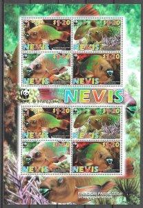 Nevis MNH S/S Rainbow Parrotfish WWF