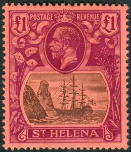 ST HELENA-1922-37 £1 Grey & Purple/Red.  A mounted mint example Sg 250