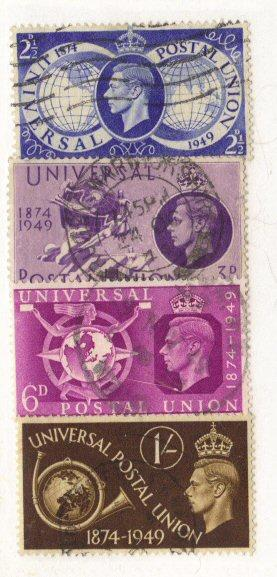 Great Britain #276-9 used UPU cpl