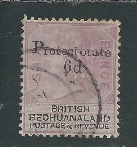 BECHUANALAND 1888 6d on 6d LILAC & BLACK FU SG 45 CAT £55
