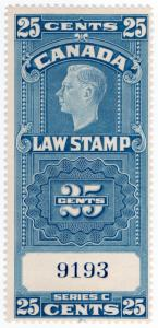 (I.B) Canada Revenue : Law Stamp 25c