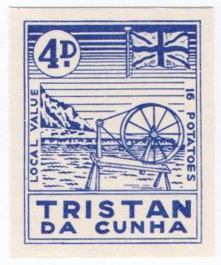(I.B) Tristan da Cunha Postal : Local Post 4d (Spinning Wheel)