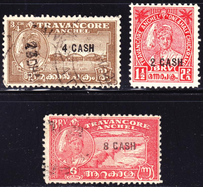 India Travancore Scott 45-47  complete set  F to VF used & mint.