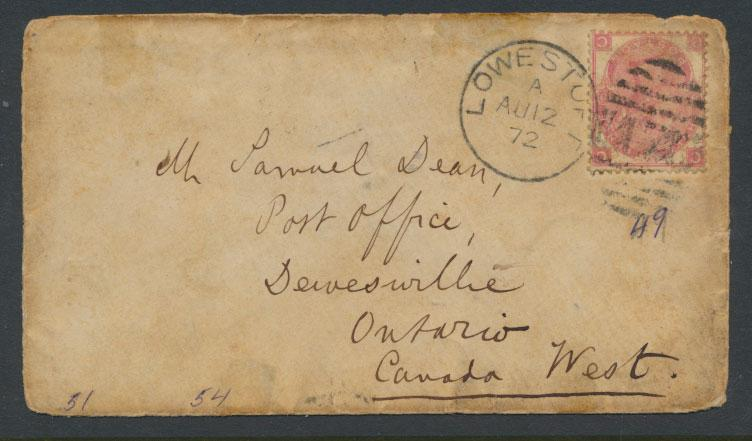 Great Britain  1872 envelope with SG 103 - see detail and scan