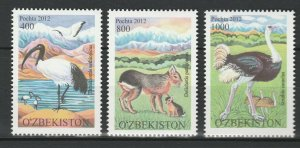 Uzbekistan 2012 Birds & Animals 3 MNH stamps