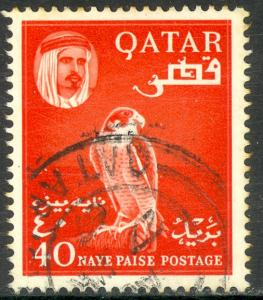 QATAR 1961 40np SHEIK AL THANI and FALCON Bird Sc 30 VFU