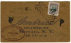 Bolivia 1908 Oruro herringbone cancel on cover to the U.S.