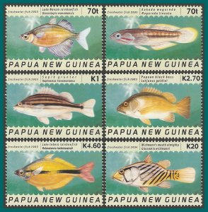 Papua New Guinea 2004 Freshwater Fish, MNH  #1099-1104,SG1003-SG1008