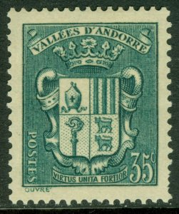 EDW1949SELL : FRENCH ANDORRA 1938 Scott #73 Key value. VF, Mint OG. Catalog $65.
