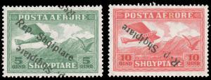 Albania #C8a-C9a MLH CV$95.00 1927 Inverted Overprints