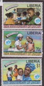 Liberia 1217-1219 UNICEF, 501h Anniv 1996