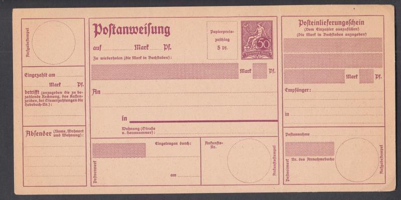 Germany Mi A35x, A47, A49 unused 1911-22 Postal Money Orders, 3 different.
