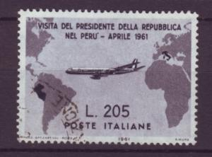J21614 Jlstamps 1961 italy hv of set used #834 airplane