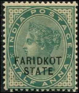 India - Faridkot  SC# 4 Victoria 1/2d MNH toned gum