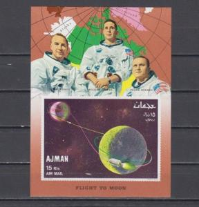 Ajman, Mi cat. 340, BL68 B. Flight to the Moon, IMPERF s/sheet.