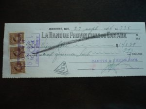 Canada - Revenue - KGVI War Issue Stamps on cheque dated 1944