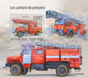 TOGO - 2019 - Fire Engines - Perf Souv Sheet - MNH
